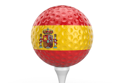 Spanish Flag Golf Ball on Tee