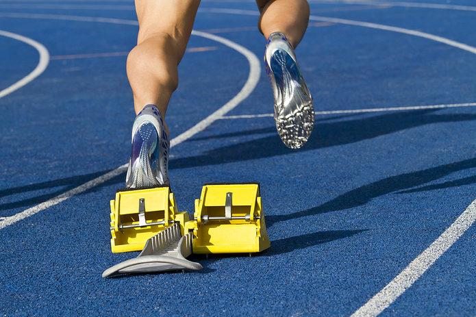 Sprinter and Starting Blocks