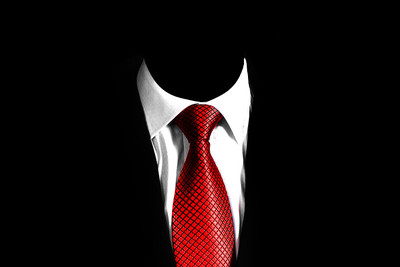 Suit with Red Tie on Black Background