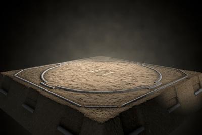 Empty Sumo Wrestling Ring and Spotlight