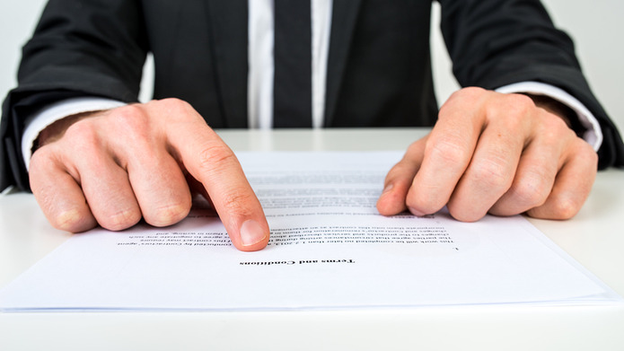 Terms and Conditions with Man in Suit