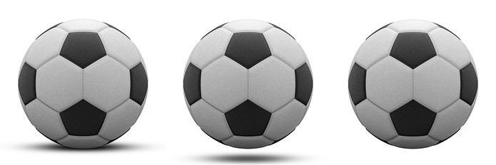 Three Black and White Footballs