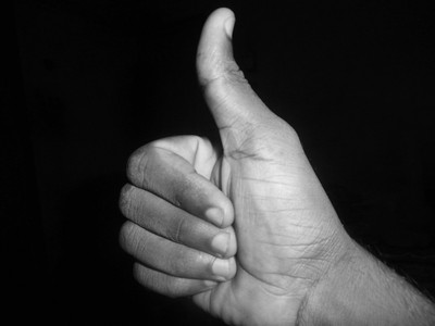 Thumbs Up in Black and White