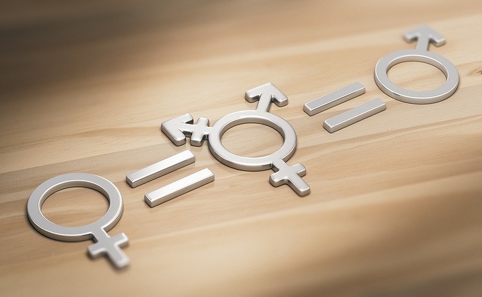 Transgender, Male and Female Symbols on Table