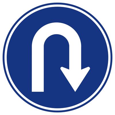 Blue U-Turn Sign