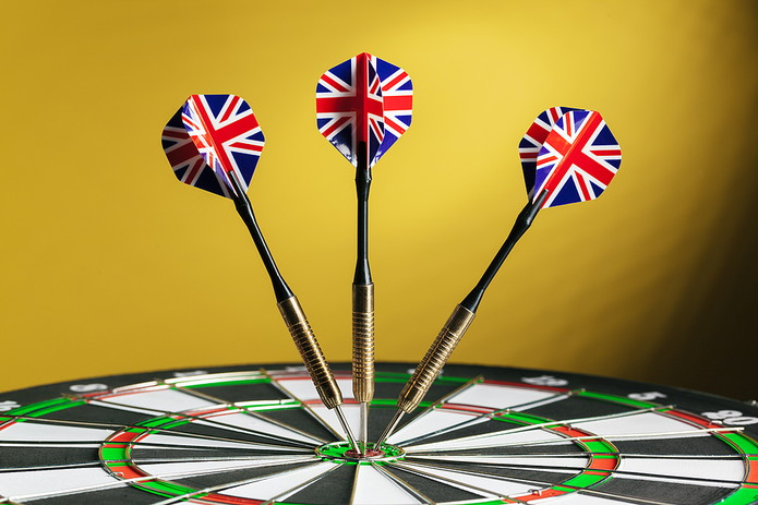 UK Flag Darts in Dartboard