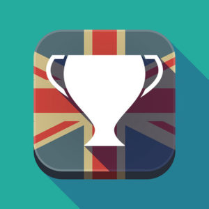 UK Flag and Trophy Button