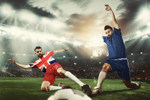 UK v EU Football Concept