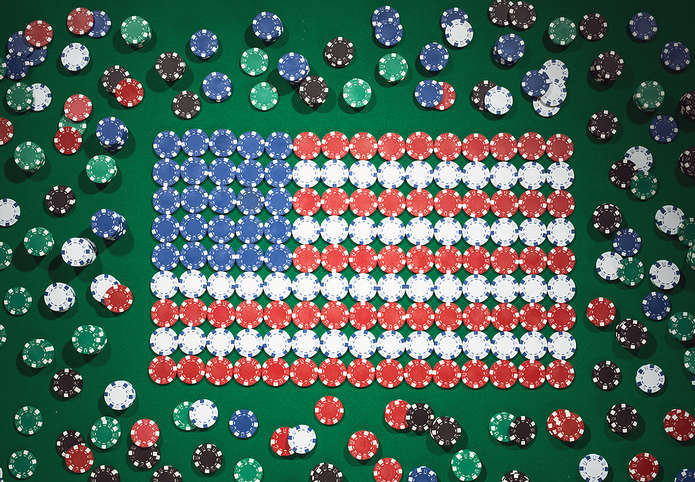USA Flag Made of Casino Chips