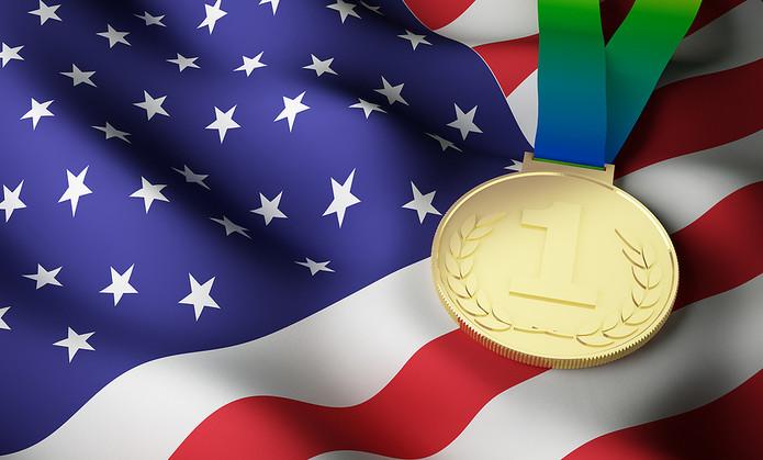 USA Flag and Gold Medal