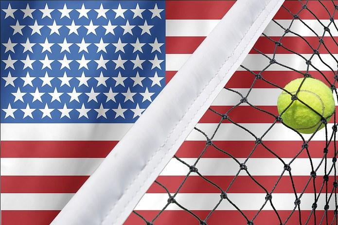 USA Flag and Tennis Net