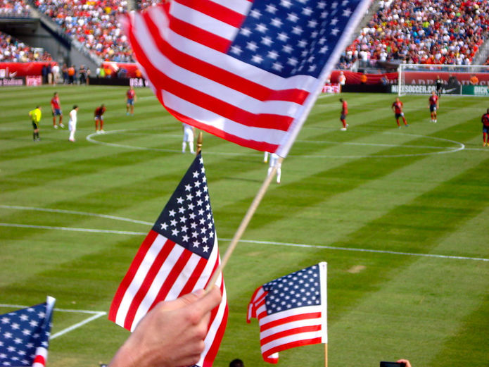 USA Flags at a US Football Match