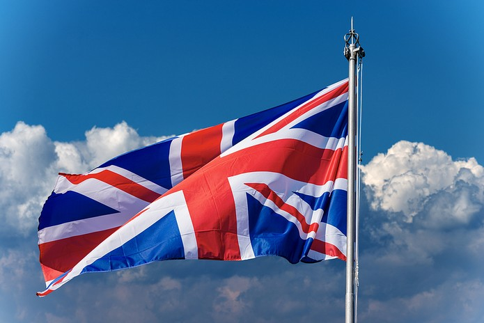 Union Jack Flag Against Blue Sky