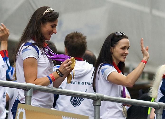Victoria Pendleton and Sarah Storey at the 2012 Olympic Medal Parade