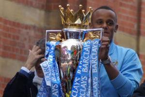 Manchester City's Vincent Kompany with Premier League Trophy