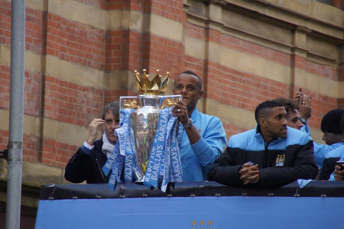 Vincent Kompany with Premier League Trophy