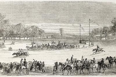 Vintage Horse Race Illustration