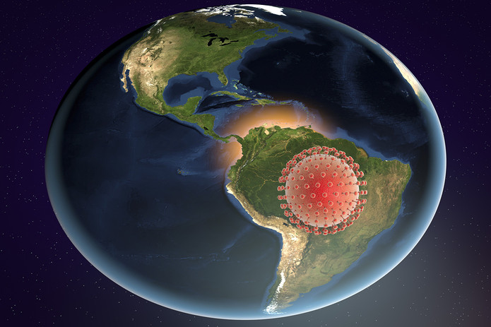 Virus on Map of South America