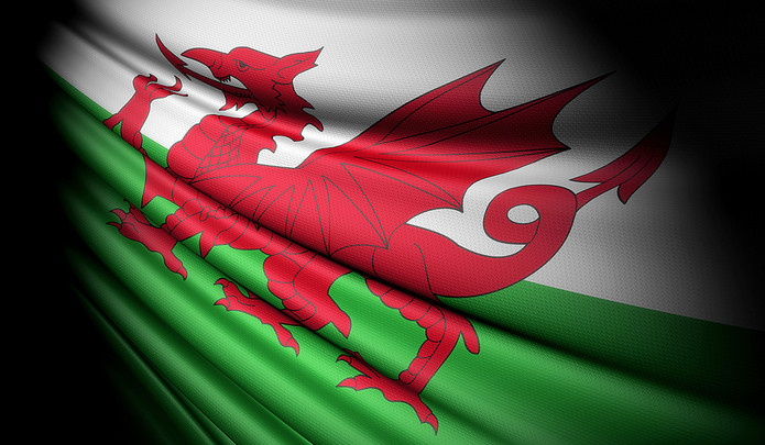 Welsh Flag with Shadow
