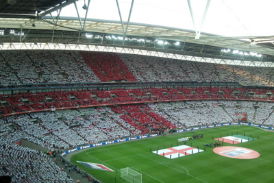 England Flag in Wembley Stadium Crowd