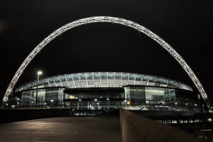 Wembley Stadium London at Night