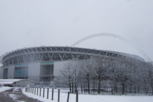 Wembley Football Stadium in the Snow