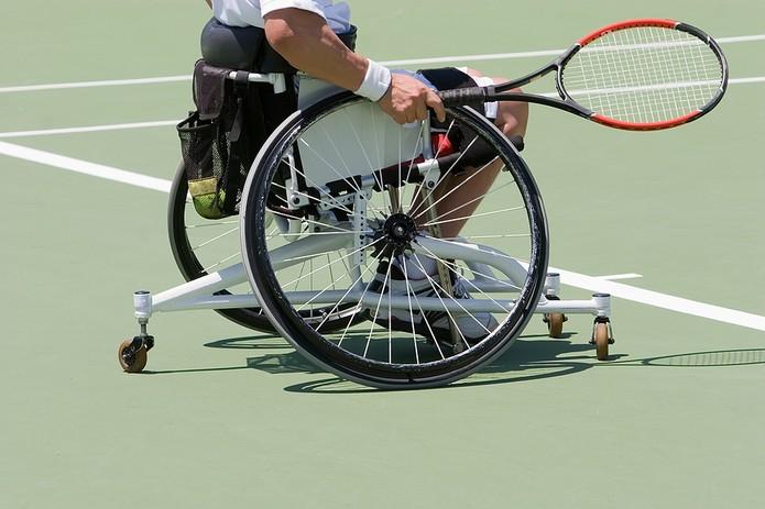 Wheelchair Tennis Player on Court