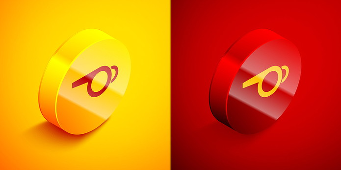 Whistle Buttons in Yellow and Red