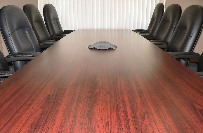 Wooden Boardroom Table and Leather Chairs