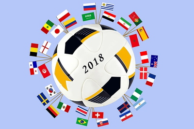 World Cup 2018 Ball and Flags of Each Team