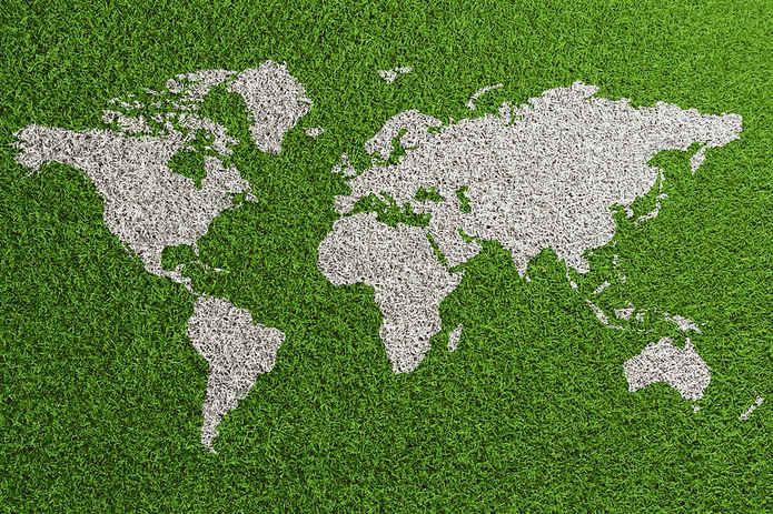 World Map on Grass