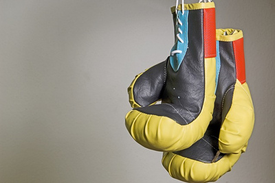 Yellow Hanging Boxing Gloves