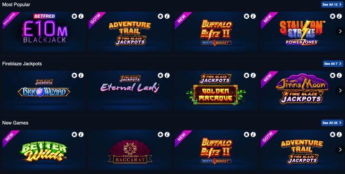 Betfred Casino Screenshot