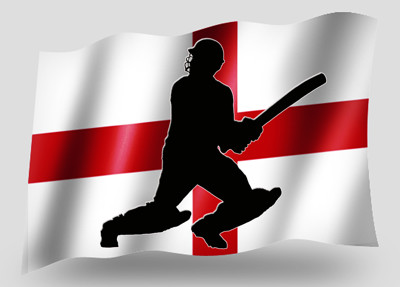 England Flag and Cricket Player