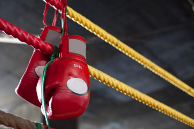 gloves & boxing ring