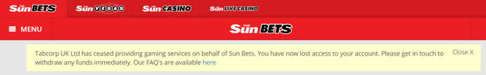 sunbets closure